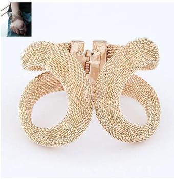2014 Designer Jewelry Elegent Золото Цвет Сплав металла Wide With Spring Cuff Bracelet ...