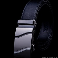 Promotions Fashion Man's Genuine Leather Belt Automatic Buckle M Real Leather Belts Many Designs Buckle For Choose Free Shipping