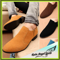 new spring and autum man men's pointed toe fashion leather Polychromatic Nubuck Leather flat shoes