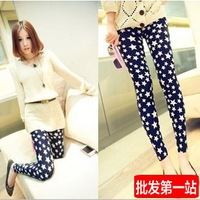 2014 Spring New Fashion imitation of the original single female love graffiti was thin stretch denim leggings Little Star