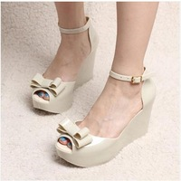 2014 new  women's high-heeled shoes pumps Fish mouth shoes bow slope with Platform Heels Sandals female shoes free shipping