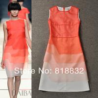 Free Shipping New 2014 Fashion Runway Dress Spring Summer Women Oganza Gradient SleevelessTank dress One Piece Dress