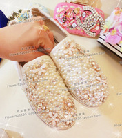 Free shipping new children's canvas casual shoes children's shoes Pearls, flowers, handmade girl canvas shoes. rhinestone