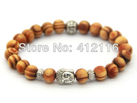 2014 Wholesale New Arrival Products 8mm Antique Silver Buddha Beaded Bracelets with Nice Wood Beads Jewelry