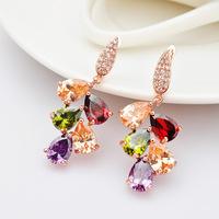 New 2014 Teardrop-shaped earrings decorated with high-end wedding 3A zircon earrings clip stud earrings color box store women