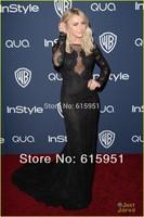 2014 New 71st Golden Globe Julianne Hough Bateau Neck Evening Dress Long  Sheer Lace Sleeves Beaded A-line Lace Prom Dress MR016