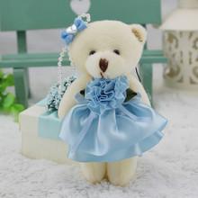Bestselling brindes promocionais presentes de casamento ursos marca de luxo pequeno urso boneca de brinquedo de pelúcia Mini ursos bonitos do luxuoso com flor azul(China (Mainland))