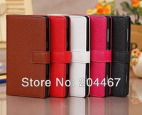 Lichee Wallet Credit Card Book Style Flip Stand Leather Case Cover Skin Pouch for Sony Xperia Z1 L39h Honami 10pcs/lot