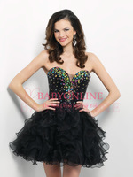 Free Shipping Sexy Sweetheart Sequined 2013 New Black Cocktail Dresses Short Ball Gown Prom Dresses With Stones BL 9672