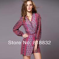 Free Shipping New Arrival 2014 Spring Summer European Fashion Dress Women Silk Blends Printed Elegant Tassel Sashes Dresses