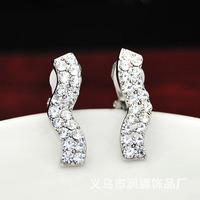 New 2014 Korean jewelry curved ear clip stud earrings non pierced jewelry For women 0