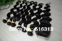 Cheap peruvian virgin body wave unprocessed virgin hair 6pcs lot mixed closure and hair bundles can be dyed Free shipping
