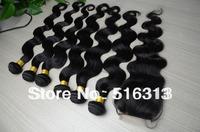 Cheap peruvian virgin body wave unprocessed virgin hair 6pcs lot mixed closure and hair bundles can be dyed Free shipping