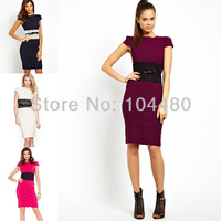 European Ameriacan Stylish 2014 New Elegant Short Sleeve Sashed Spring Autumn Bodycon Party Club Pencil Dress W/ Belt