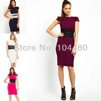 European Ameriacan Stylish 2014 New Elegant Short Sleeve Sashed Spring Autumn Bodycon Party Club Pencil Dress W/ Belt