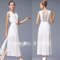 Free Shipping New 2014 Spring and Summer Silk Blends Sleeveless High Quality Evening Long Dress Women Elegant Dresses