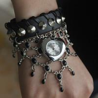 Promotion Fashion leather strap Wind Watch Bracelet Ladies Wind Rivet wirst watches Women Watch Free shipping