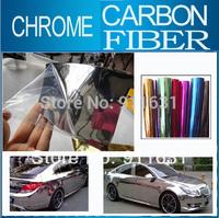"50x152CM 20""x60"" Car Chrome Carbon Fiber Sticker Aluminum Sticker Car Wrap Sticker Mirror Film Polished Vinyl Car Carbon Fiber"