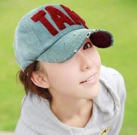 Fashion Korean version baseball cap Men's and women's embroidery TAKE edge grinding do old summer hat 4 color