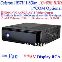 Mini ITX PC in PC Desktops Computer with rca video AV S-VIDEO output Intel Celeron C1037U 1.8Ghz NM70 chipset 1G RAM 80G HDD