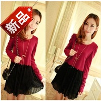2014 summer women's sweet all-match knitted patchwork long-sleeve basic skirt chiffon faux two piece set one-piece dress