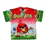 Hot sale !  New arrival children's short sleeve boys t-shirts casual cartoon bird t-shirt in stock ELZ-S0078D