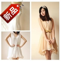 2014 summer women's sweet tank dress ruffle solid color white plus size one-piece dress chiffon skirt spaghetti strap