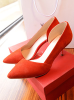Sundy fashion elegant long all-match metal pointed toe cutout high-heeled shoes