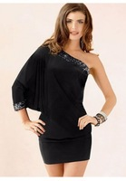 New Fashion Women Sexy One Shoulder Sequined Batwing Sleeve Black Club Dresses Mini Dress Party Dresses N055