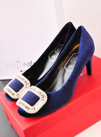 Sundy 's top velvet elegant buckle rhinestone shining high-heeled shoes high-heeled shoes