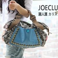 2014 fashion women retro canvas bag female big bag handbags women rivet package diagonal package women shoulder bag