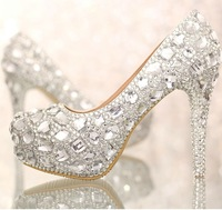 2014 Luxury Crystals Silver Wedding Shoes High Heel Bridal Shoe with Platform Anniversary Party Nightclub Prom Shoes