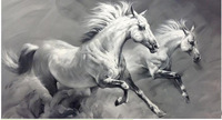 Wholesale - Hand-Painted White and Black Horse Wall Art Painting Landscape Oil Painting on Canvas Free Shipping