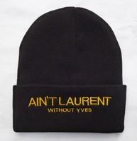 2014 free shipping Aint laurent beanie warm Knitted caps,100% cotton,men & women, TOP qulaity,Grey White Black ,retail