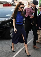Spring 2014 and autumn Europe and America same as Victoria Beckhams style knitted velvet skirt dress,Free shipping