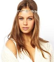 Punk gold bohemian leaf headbands , gold / silvery leaf headabnds
