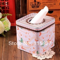 Free Shipping!Lovely Bird design Facial paper case Tissue Box Metal square Napkin Holder 2014new Fashion Zakka style Houseware