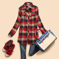 2014 new fashion women autumn-winter long Sleeves blouse shirts Single tops cotton Plaids Flannel shirt blouse plus size,2color