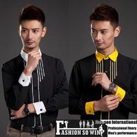 2014 Specials new Korean slim men's shirts wedding party host show shirt size: S-XXXL