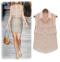 2014 Fashion ladies chiffon shirt ruffle sleeveless plus size shirt cardigan chiffon top