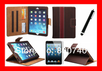 New Arrival PU Leather Case Flip Cover Case Cover For Apple iPad 5 Air +1Protector+1Stylush
