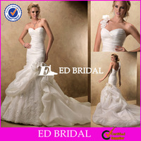 ED047 one shoulder sweetheart neckline ruched organza caught up punjab wedding bridal dresses