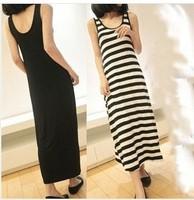 8 Color 2014New Hot Sale Women Milk Silk Long Dress Casual Tank Dress Ladies Black Striped Dress 122cm Girls Fashion Beach Dress