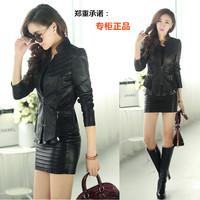 Free shipping soft sheepskin collar short version of slim zipper lace short jacket