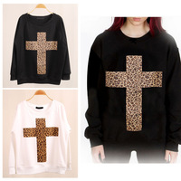 Hot Sale Trendy Europe and America Leopard Cross Personalized Bat Sweatshirt Pullover Tops