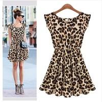 Hot Selling New 2013 Women Blusas One Piece Dress Chiffon Leopard print Casual Dress Blouses For women 2013 M L XL Free shipping
