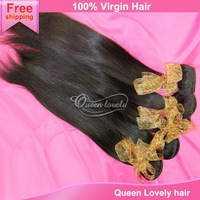 Natural color can be dyed brazilian virgin hair straight 4 pcs popular queen hair products free shipping remy human hair bundles