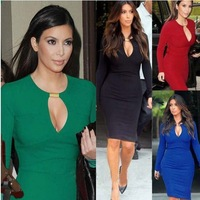 New  Fashion Womens Celeb Ladies Knee-Length V-Neck bodycon Evening Business Career Pencil Dress