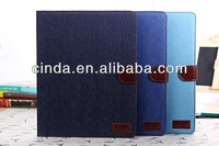 Free shipping&50pcs/Lot New  cowboy Leather  Wallet Book Case Cover Pouch for Apple iPad 2 3 4