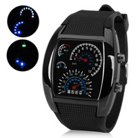 RPM Turbo Blue Flash LED Watch Brand New Gift 2014 Wristwatches Sports Digital Watches With Car Meter Dial Free Shipping